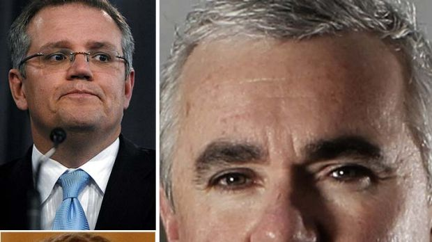Andrew Wilkie ... says Tony Abbott should have immediately sacked Scott Morrison, top, and Cory Bernardi.