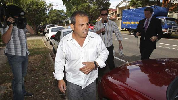 Drama ... Sam Ayoub leaves the Campsie police station with his solicitor, Danny Eid, yesterday.