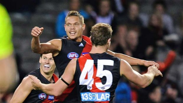 Essendon's Leroy Jetta celebrates after a goal in last night's clash with St Kilda at Etihad Stadium.