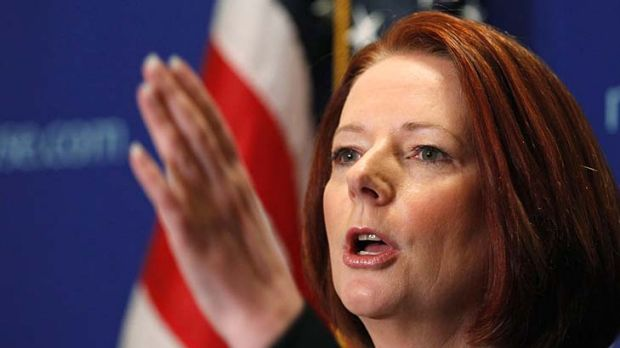 Happy with Kevin Rudd ... Prime Minister Julia Gillard speaks during a news conference at the New York Stock Exchange.