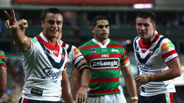 Before the fightback began ... Sam Perrett of the Roosters celebrates the try that extended his side's lead to 22 points ...