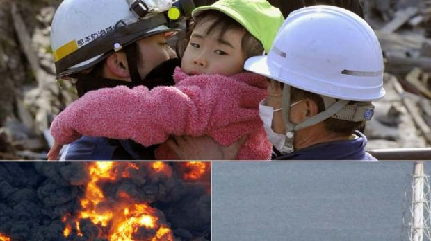 Clockwise from top: Rescuers with a girl who was left in a building in Kesennuma; Japanese authorities said there was a ...