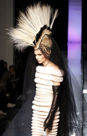 Pejic modelling a creation by Jean Paul Gaultier in Paris.