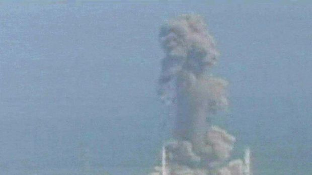 Smoke ascends from the Fukushima Dai-ichi nuclear plant's Unit 3 on Monday after a second hydrogen explosion.