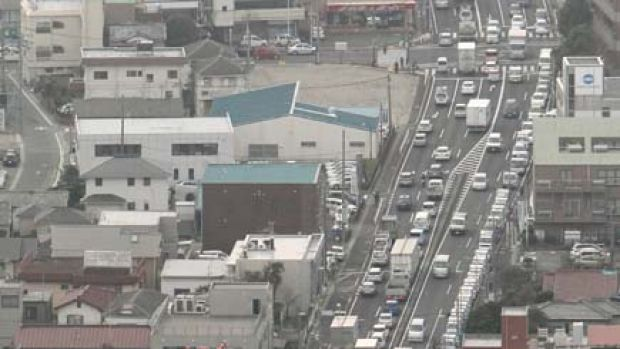 A long line of vehicles  waits to fill  up with petrol  at Ageo, north of Tokyo today.