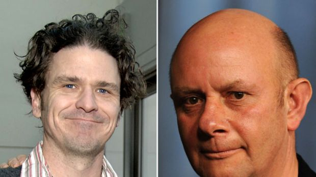 Dave Eggers, left, author and creator of children's writing centre '826 Valencia' in San Francisco; and Nicky Hornby, ...