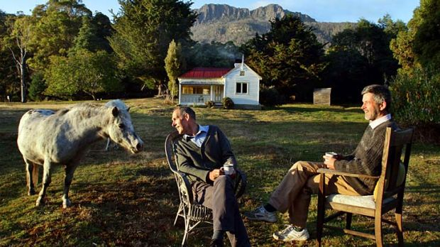 """Bob Brown and Paul Thomas at Oura Oura ... """"It's just a great relaxing, quiet, beautiful spot ... the more people who ..."""