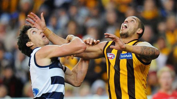 Hawthorn's Lance Franklin and Geelong's Harry Taylor.