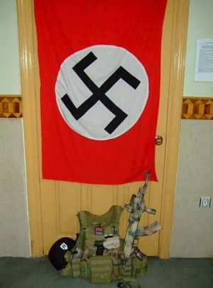 A swastika flag in Stewart's room.