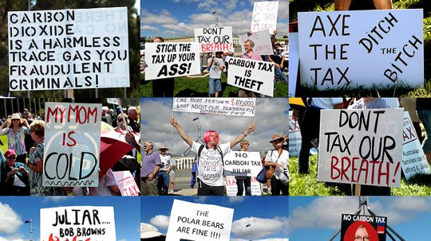 All sorts: A selection of placards at yesterday's anti-carbon tax protest at Parliament House.
