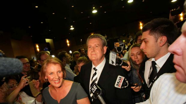 Barry O'Farrell takes his first steps, with his wife Rosemary, as Premier of NSW.