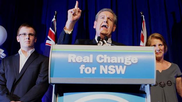 New Premier ... Barry O'Farrell celebrates his emphatic victory.