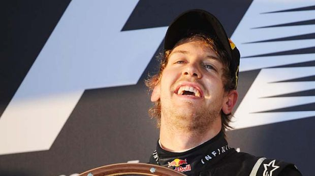 Sebastian Vettel shows the elation of winning the first grand prix of the year.