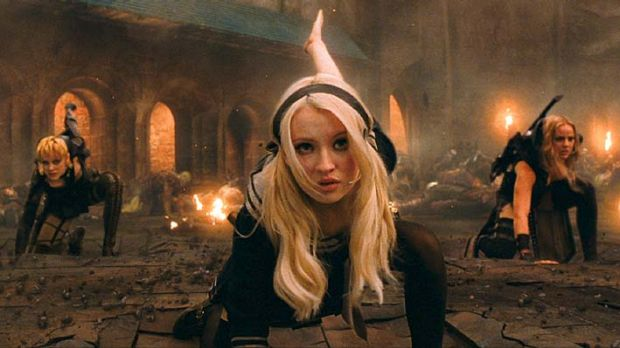 """""""Crazy, intensive training"""": (from left): Jena Malone as Rocket, Emily Browning as Babydoll and Abbie Cornish as Sweet Pea."""