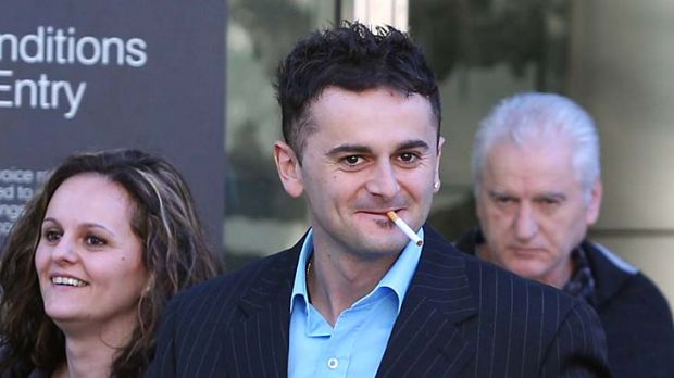 Adnan Rusanovski leaves the County Court after being found guilty of assaulting his wife on their wedding day.