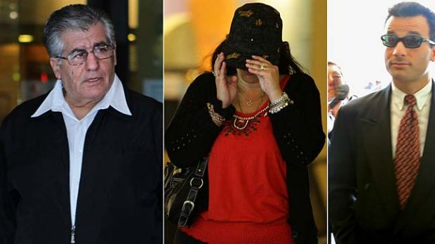 Tony Golossian and Frances and Arthur Psichogios leave Downing Centre District Court last year.