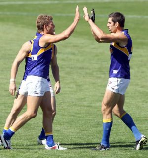 Brad Ebert, left, has given his last high five for West Coast after his request for a trade to Port Adelaide was granted ...