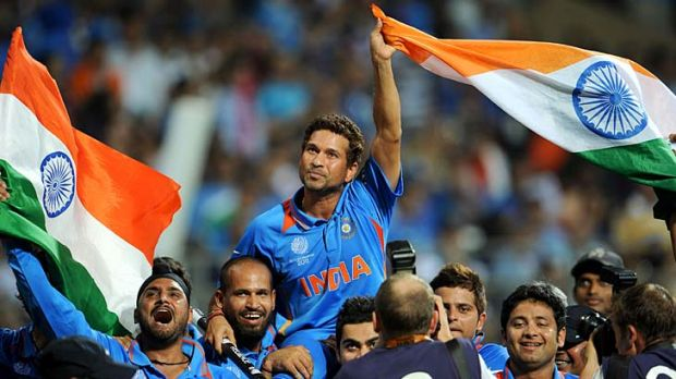 Last mountain conquered . . . Sachin Tendulkar, seen here with Harbhajan Singh, finally added a World Cup win to his ...