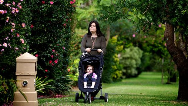 House bound... without an eruv Sindy Lowinger and her daughter, Tova, cannot push the pram outside the house on the Sabbath.