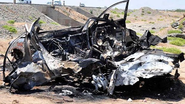 The wreckage of a car after the missile strike in Port Sudan.