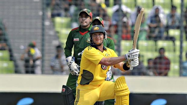 Watson power . . . Shane Watson belted an unbeaten 185 to record the highest score by an Australian in one-day cricket ...