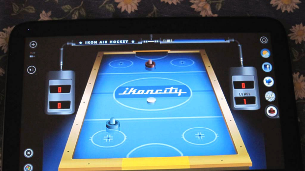 There's air hockey but no Angry Birds or Fruit Ninja.