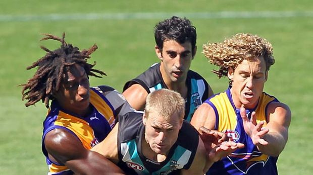On the outer: Port Adelaide's Kane Cornes will sit out tonight's showdown against the Crows.