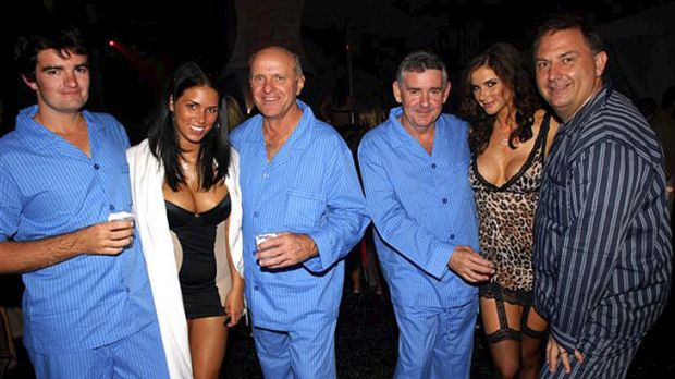 High life ... Sonny Nugent, director Robert McClelland, Micheal Nugent and director Steve Foster with models at the ...