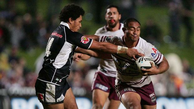 Manly's Joe Galuvao is tackled.