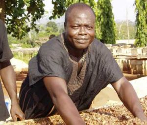 A worker with Ghana's Kuapa Kokoo farmers' co-operative with Fairtrade-certified beans.