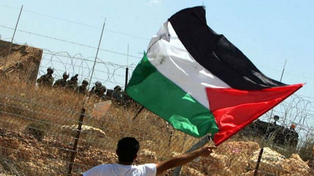 A Palestinian demonstrator waves his national flag opposite Israeli soldiers during a protest.