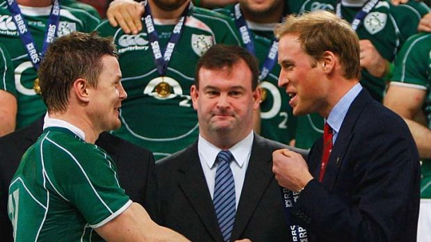 Another invitee Brian O'Driscoll shakes hands with Prince William after Ireland won the Six Nations Grand Slam in 2009.