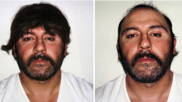 Greek police released these images of Mokbel's efforts to disguise himself soon after his arrest at an Athens coffee shop.