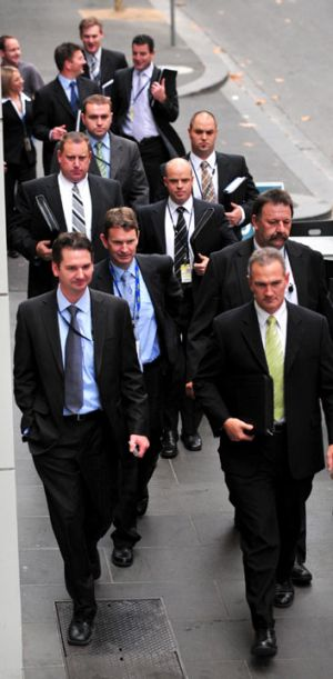 Purana Taskforce detectives outside court after Mokbel's extradition to Australia.