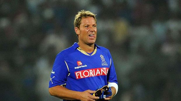 Shane Warne in action for Rajasthan Royals.