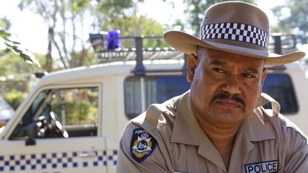 I am the law: Texas (Greg Tait) stands guard over the indigenous youth in his outback patch in the extraordinary drama ...