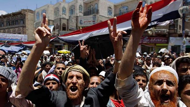 Unrest ... protesters at a rally this week in the Yemeni capital, Sanaa, call for the President, Ali Abdullah Saleh, to ...