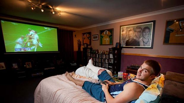 Home comforts .. .Drew Mitchell enjoys recuperating at his parents' house in Brisbane.