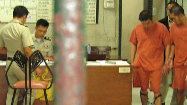 Sarud Seehaveachart and Thatiya Terdputham in chains in court on Monday.