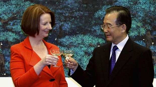 Cordial relations... Ms Gillard and Mr Wen.