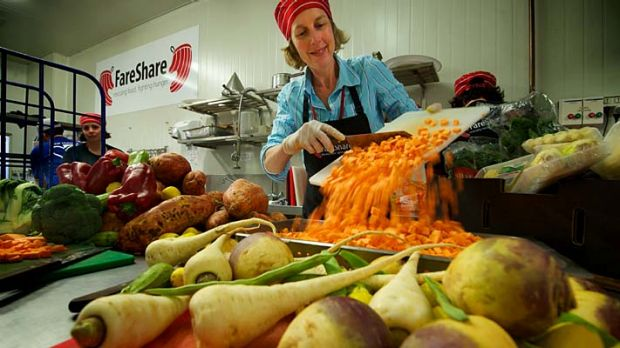Chop,chop: FareShare kitchen volunteer Jane Simon.