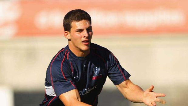 Luke Jones at a Melbourne Rebels training session on Wednesday.