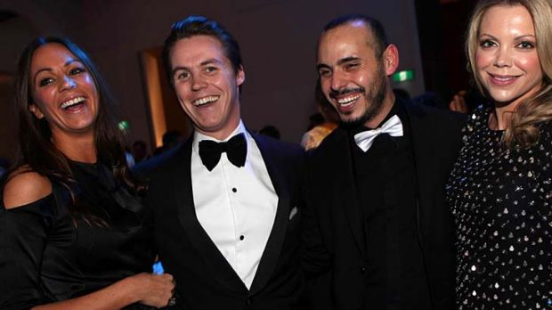 Oliver Curtis, second left, at the  Bachelor of the Year Awards with  Rachel Gilbert, Fernando Barraza and Sarah Wilson.
