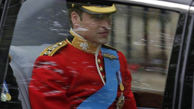 Prince William on his way to Westminster Abbey.