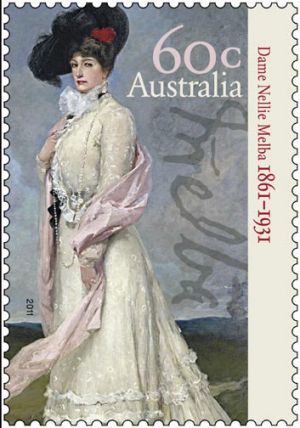 The new stamp marking the 150th anniversary of Dame Nellie Melba's birth will be released next week.