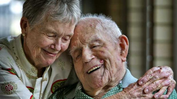 World War 1 Royal Navy veteran Claude Choules with his daughter Anne Pow just before he turned 108.