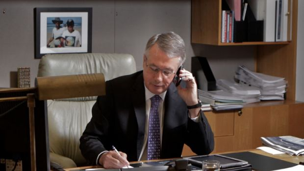Numbers man ... Wayne Swan at his desk preparing for the budget on Tuesday.