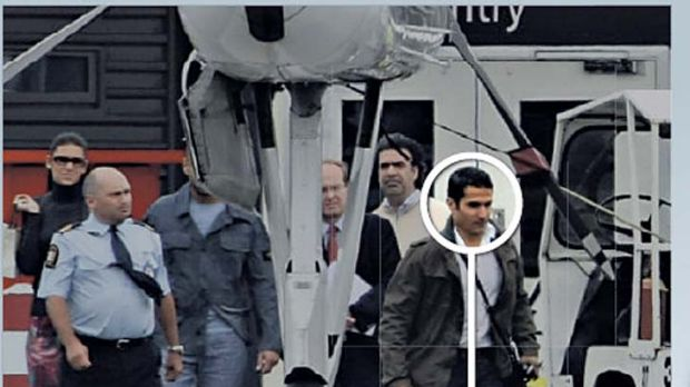 Saif al-Islam Gaddafi's entourage being escorted to his private jet in Christchurch, NZ.