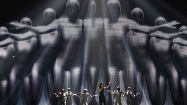 Lena of Germany performs her song 'Taken By A Stranger' during the second rehearsal for the finals of the Eurovision ...