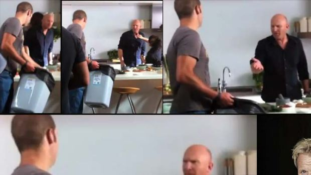 From top left, clockwise ... the assistant clears a plate of food into a bin, Matt Moran notices, gets mad, and madder, ...